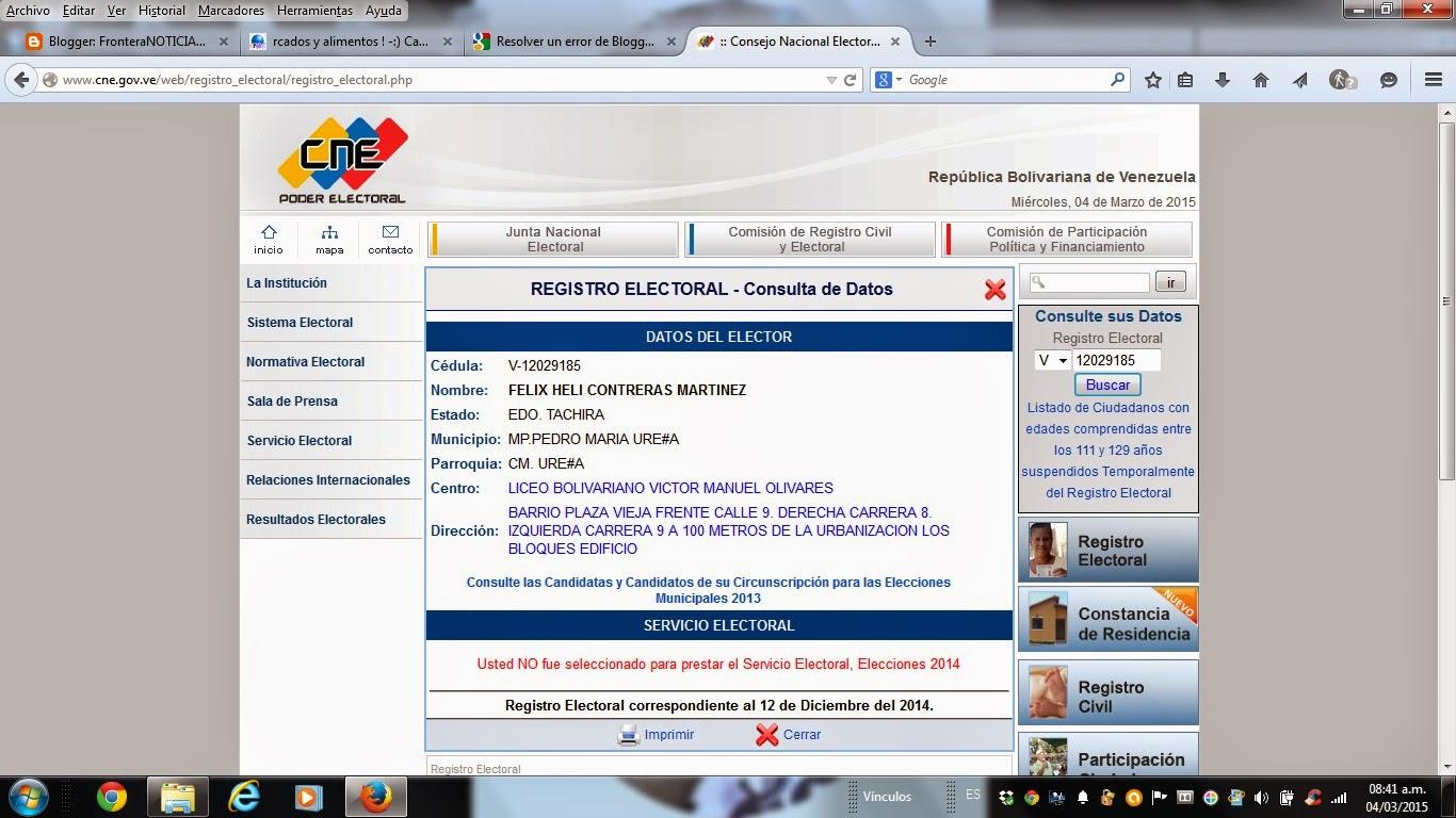 Identificación legal de Félix Helí Contreras Martínez en Venezuela:
