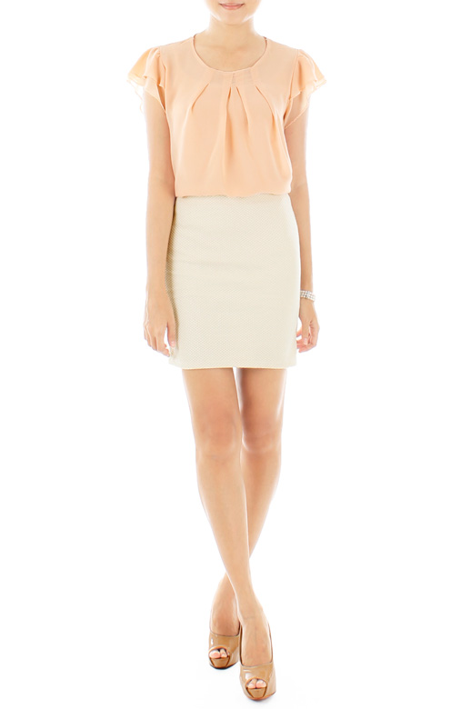 Checkered Ivory Mini Skirt