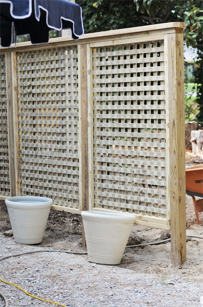 Julia ryan we built a lattice wall in the backyard for Lattice panel privacy screen