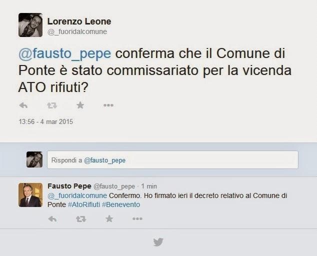 Tweet Sindaco Pepe --- Fuori dal Comune - Ponte