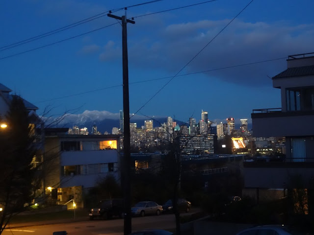 night view of downtown vancouver from kitsilano hill