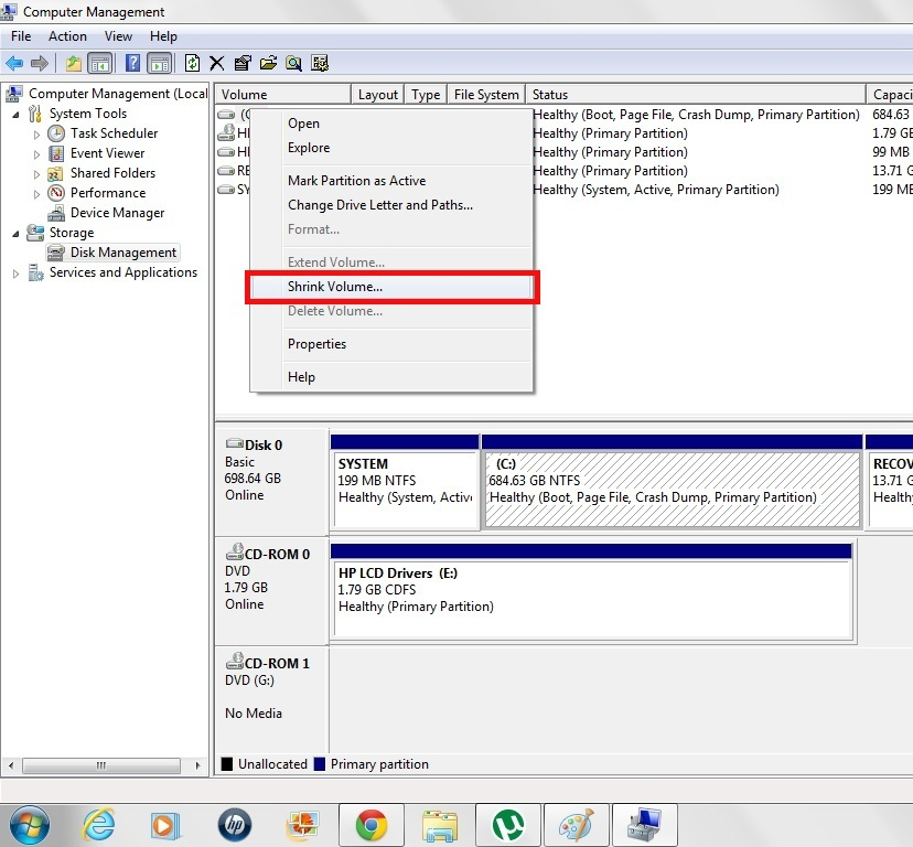 Partition Disk In Wndows 7