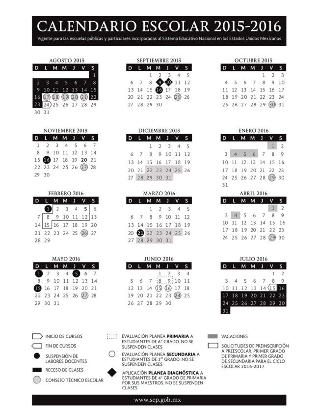 Calendario Oficial SEP Ciclo Escolar 2015-2016