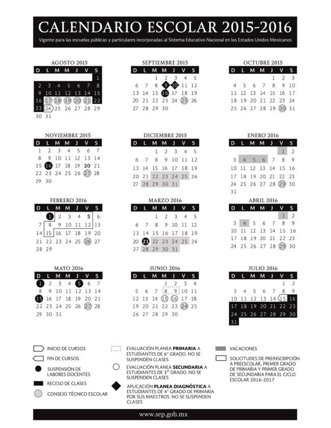 Calendario Escolar 2015 2016 Sep