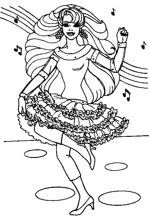Dancing and Singing Barbie Coloring