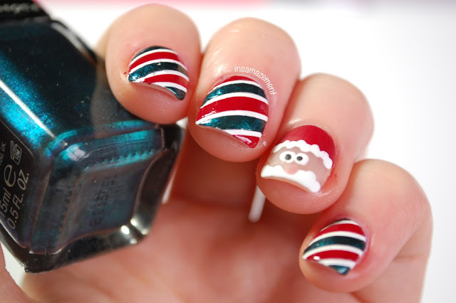 Candy Cane & Santa Nail Art Tutorial