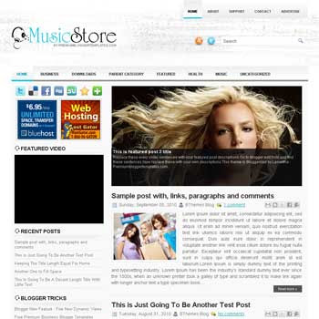 Music Store blog template. template image slider blog. magazine blogger template style. wordpress theme to blogger