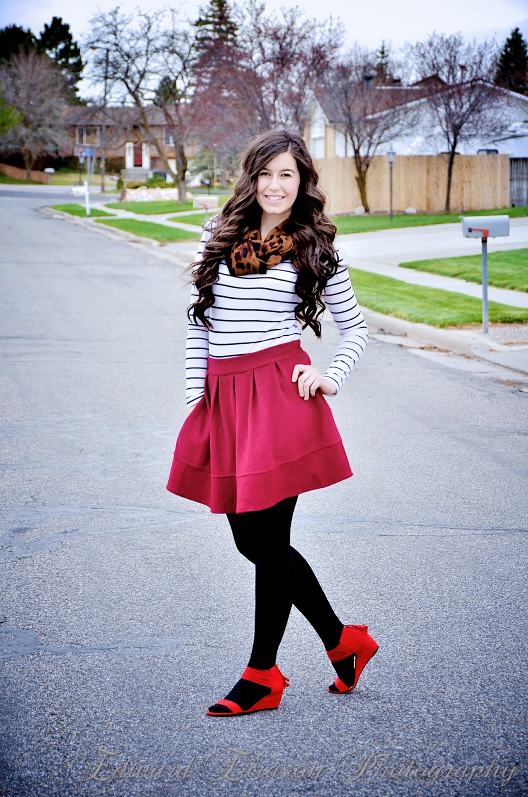 striped shirt, burgundy skirt, red wedges, bright red wedges, sheinside, leopard scarf, pop of red, red heels,
