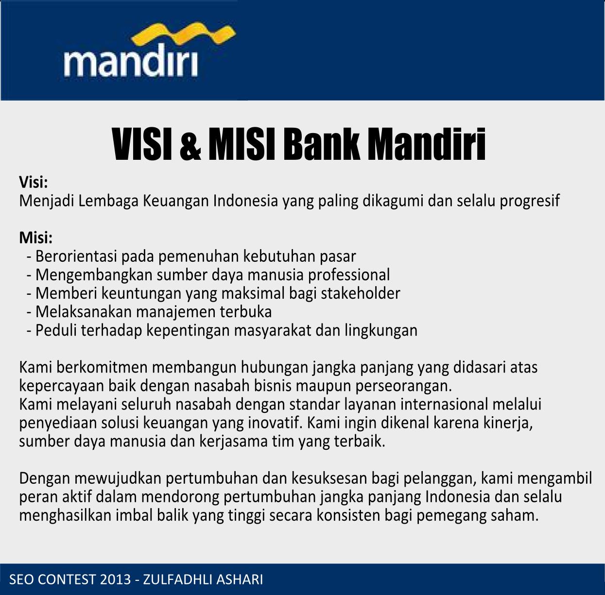 visi misi Bank Mandiri