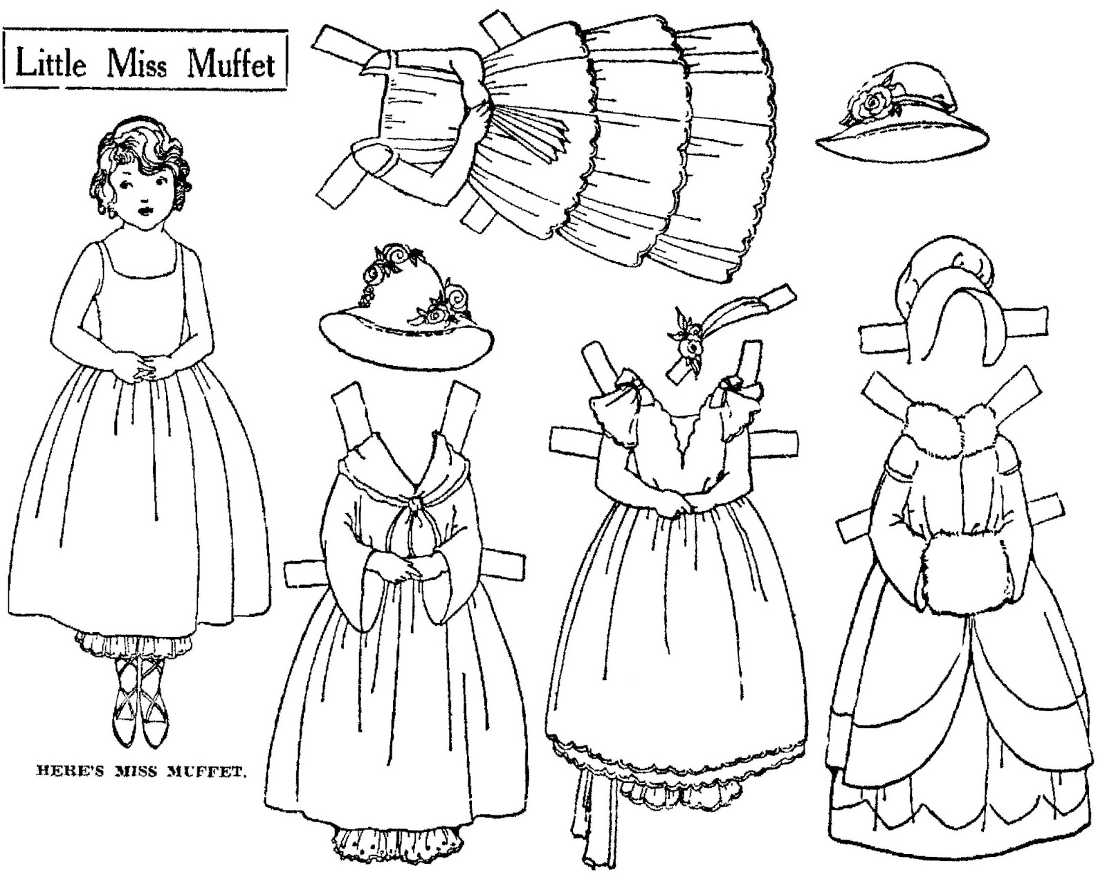 mostly paper dolls too little miss muffet paper doll to