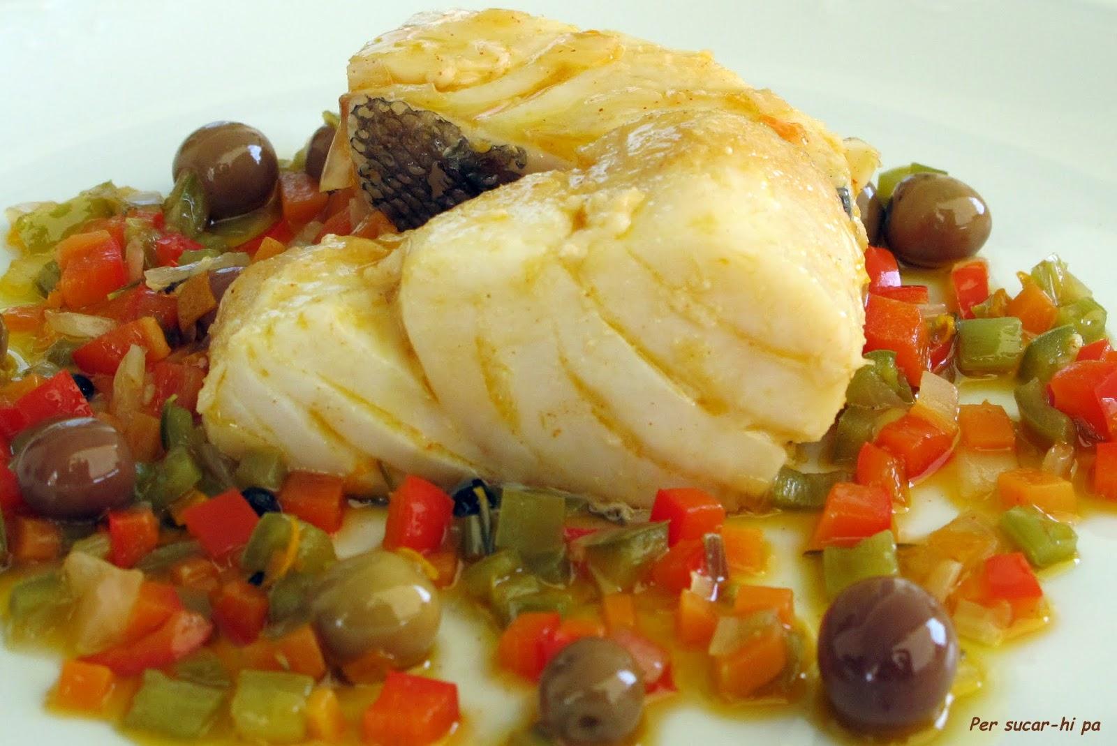 Bacalao confitado con escabeche de verduritas