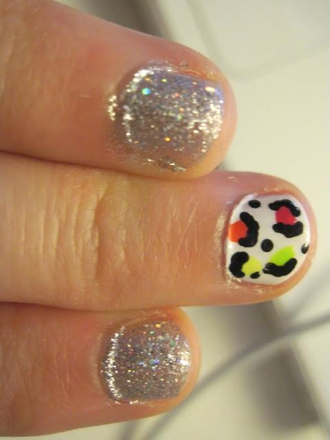 neon glitter leopard print nails