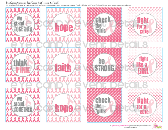 think pink, breast cancer awareness tags, pink gift tags, hope, fight for a cure