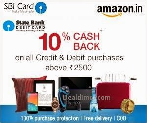 SBI  Amazon 10% Cashback on orders above Rs. 5000