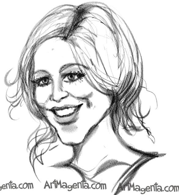 Sarah Chalke caricature cartoon. Portrait drawing by caricaturist Artmagenta.