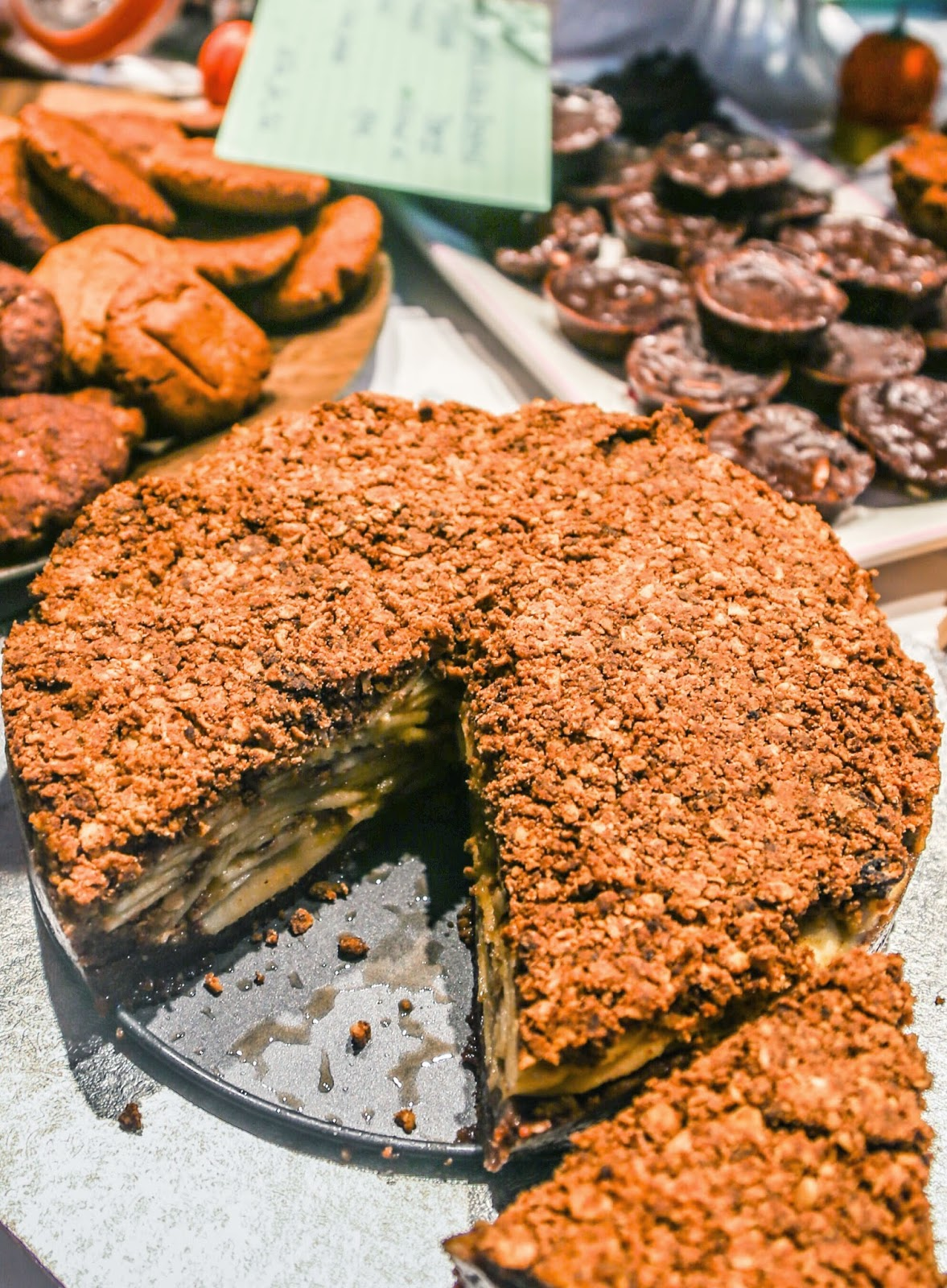 Apple pie on a chocolate brownie crust - gluten free and vegan