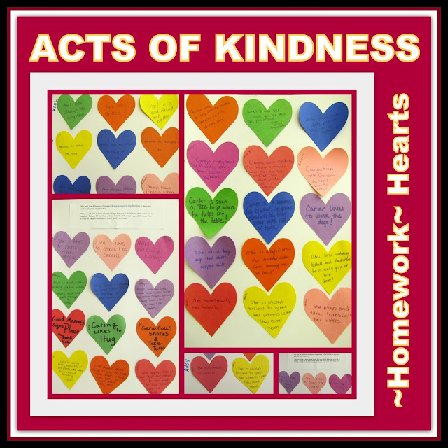 photo of: Acts of Kindness Hearts: Homework (Kindness RoundUP via RainbowsWithinReach)