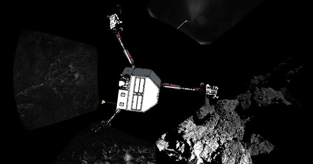 Rosetta's lander Philae has returned the first panoramic image from the surface of a comet. The view, unprocessed, as it has been captured by the CIVA-P imaging system, shows a 360º view around the point of final touchdown. The three feet of Philae's landing gear can be seen in some of the frames.   Superimposed on top of the image is a sketch of the Philae lander in the configuration the lander team currently believe it is in. Credit: ESA/Rosetta/Philae/CIVA