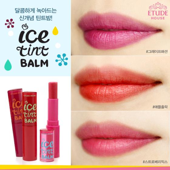 Etude House Ice Tint Balm on lips