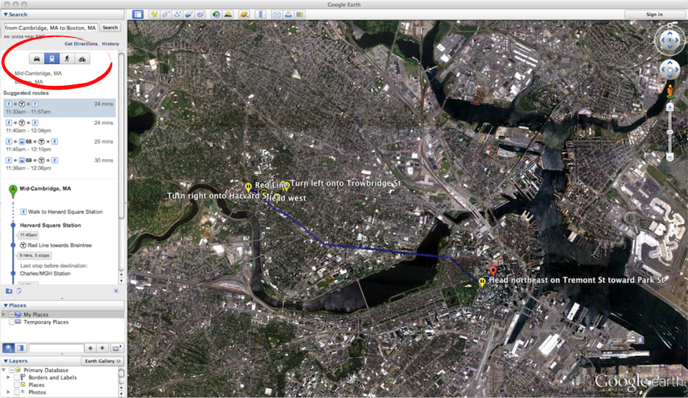 how to get directions on google earth