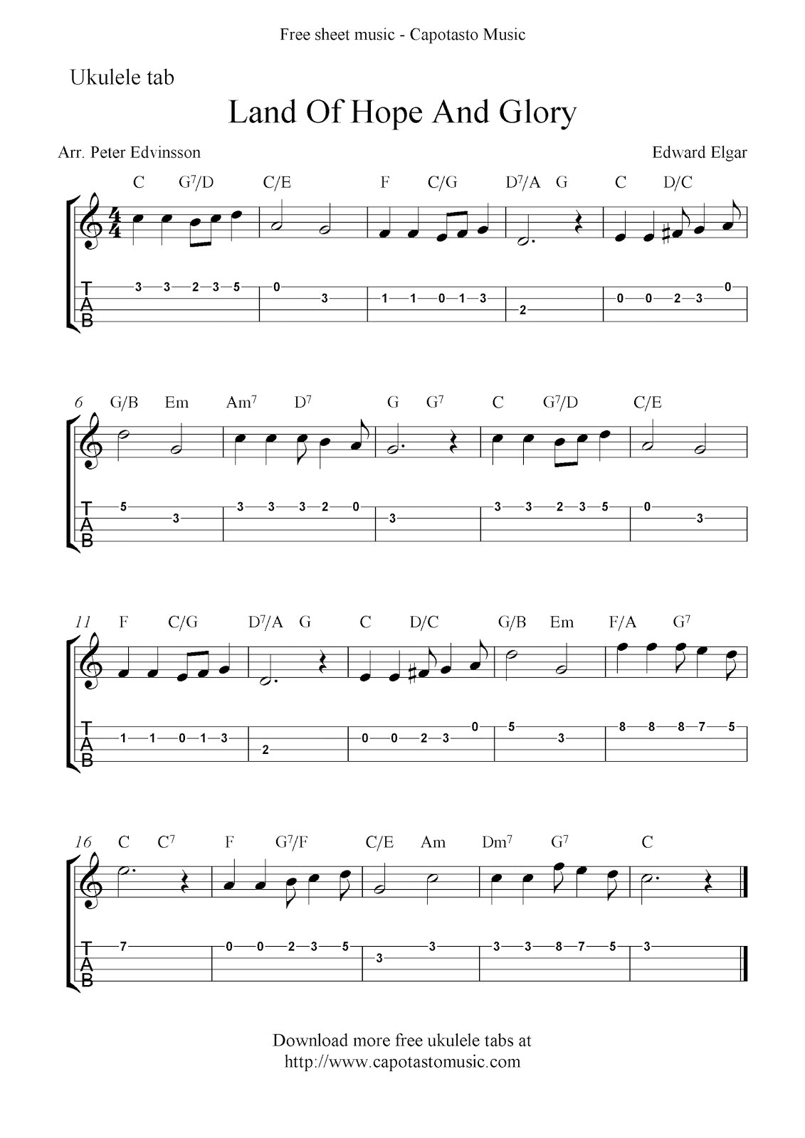 Land of hope and glory free ukulele tab sheet music for Pomp and circumstance