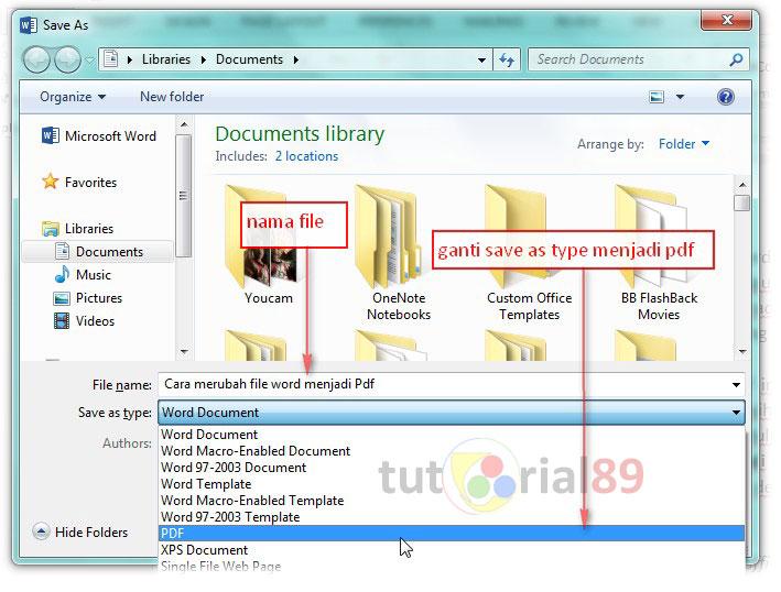 cara praktis merubah word ke pdf