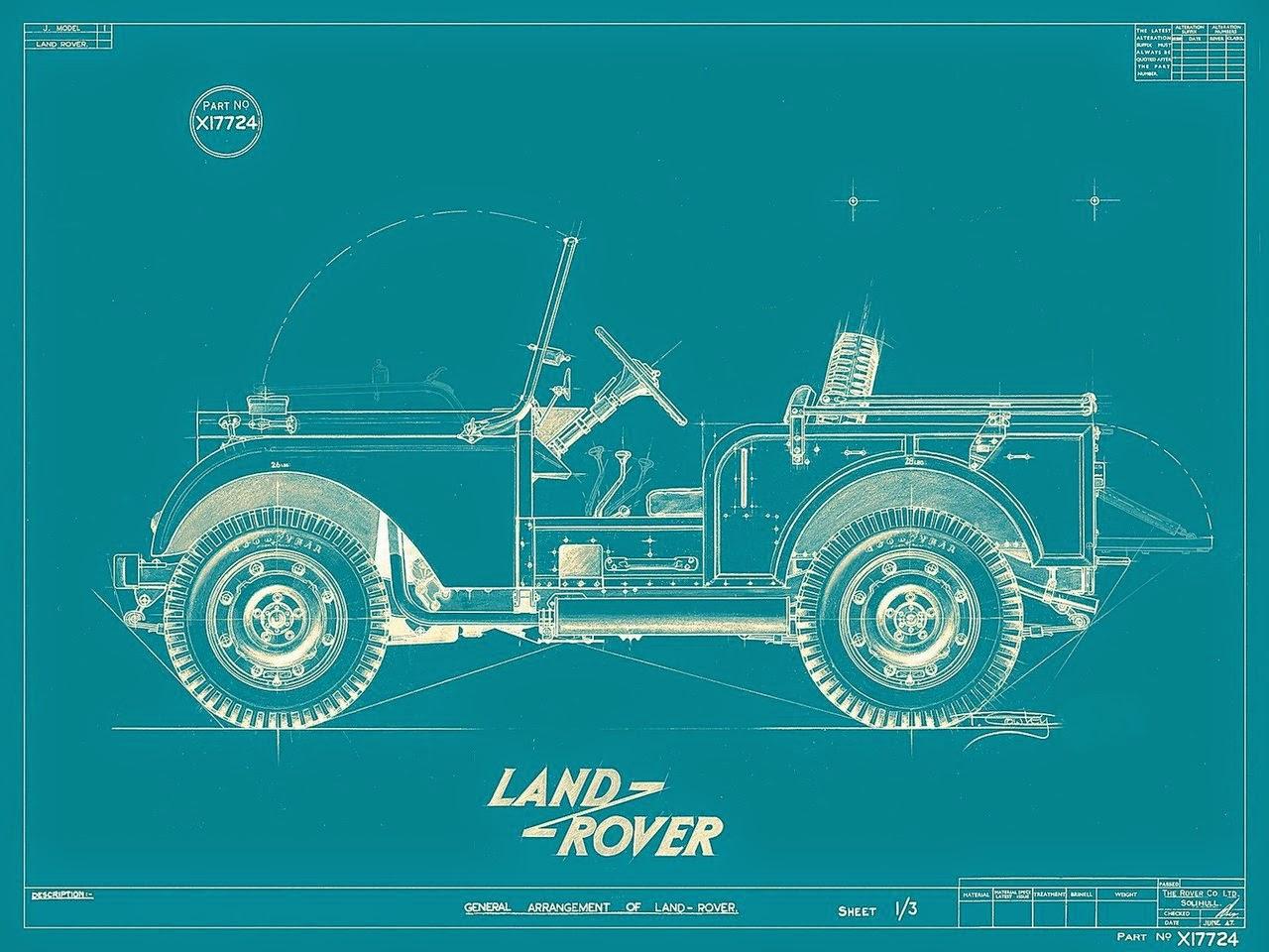Dibuix esquemàtic d'un Land Rover semblant a un Jeep Willys