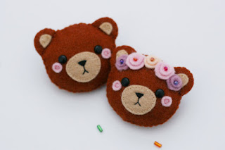 Brown Bear Felt Pin with Floral Crown Pretty New
