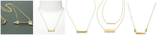 Team Pastor Boutique Sideways Arrow Necklace $12.00  Anna & Ava Delicate Bar Pendant Necklace $14.00 (regular $20.00)  Rebecca Minkoff Pave Crystal Bar Pendant Necklace $24.45 (regular $78.00)  Jules Smith Double Rectangle Necklace $27.30 (regular $39.00)  Stella and Bow Bar Necklace $42.00 (regular $70.00)