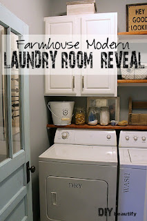 How I added Farmhouse Charm to a boring builder-grade laundry room for Under $200! It's possible, y'all! Find all the details at DIY beautify