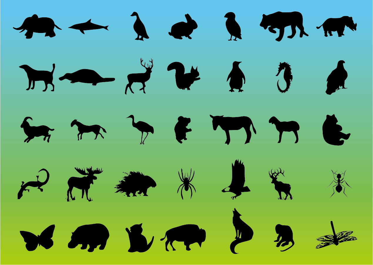 bezierinfoベジェインフォ: 野生動物のシルエット wildlife animal