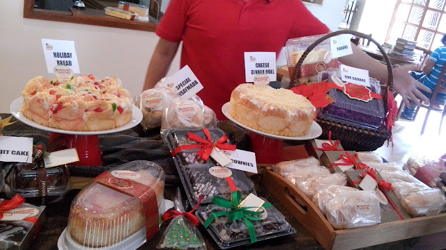 Holiday bread, fruit cake, brownies, pianono, crema de fruta, cookies, ensaymada, ube square, cheese dinner roll, custard cake and more.