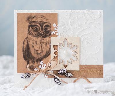 новогодняя открытка с совой, крафт бумага, снег, текстурная паста с песком, скрап, открытки на заказ, открытка ручная работа