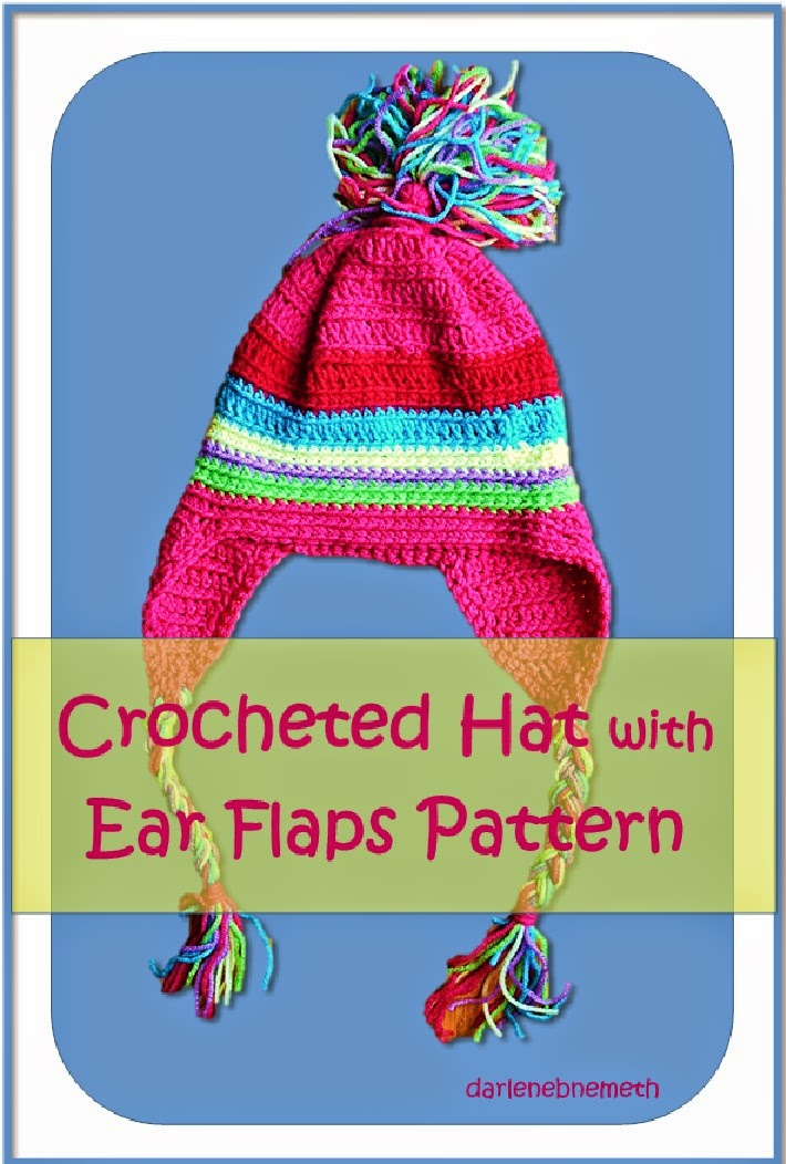 Double Crochet Hat Pattern With Ear Flaps : Let It Shine: Crochet Pattern for Rainbow Hat with Ear Flaps