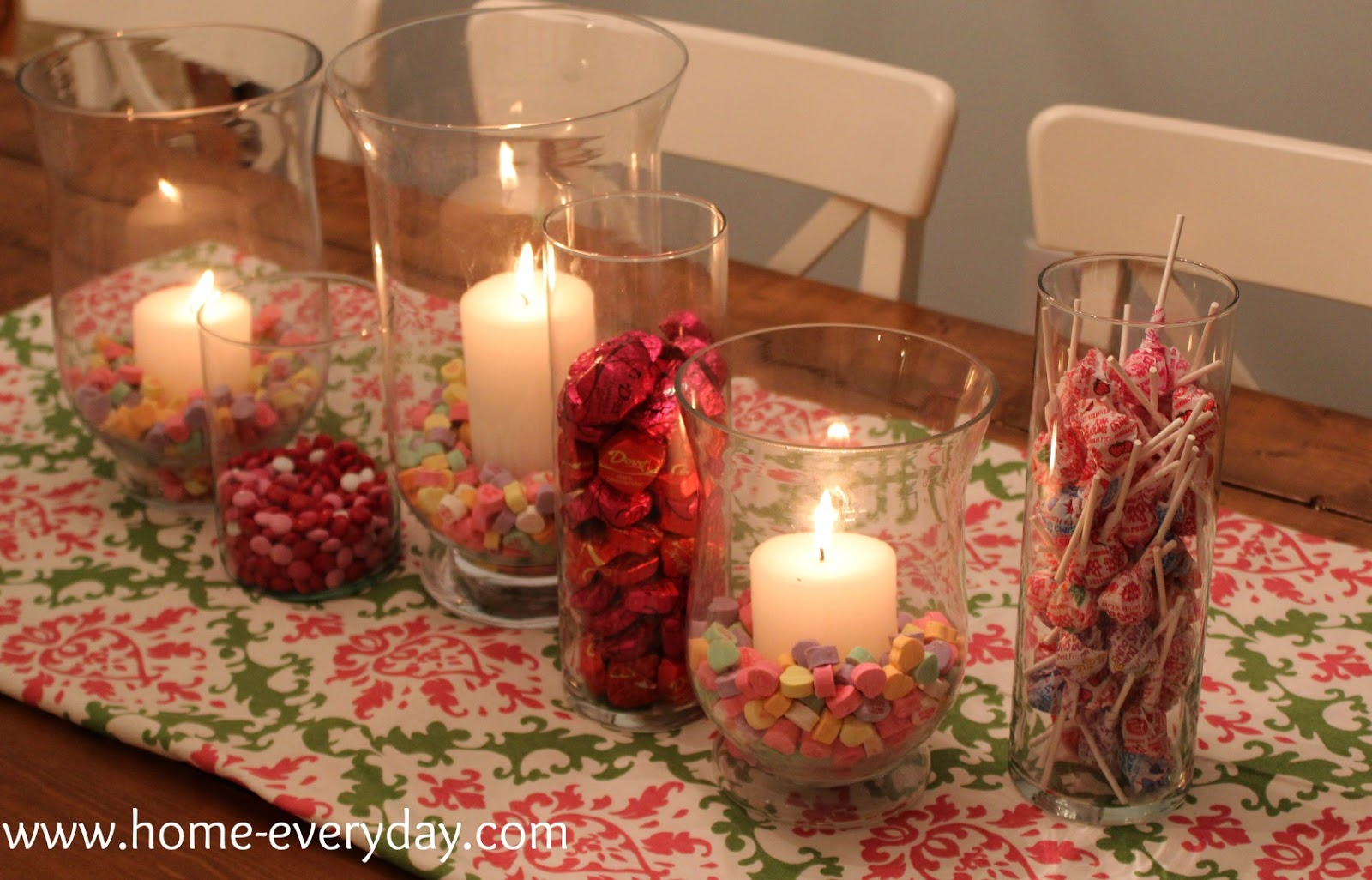 Flowers candy and books valentines dining table decor home i then found some leftover fabric from this curtain project and ta da i made a simple easy sweet and edible tablescape for the cost of some candy reviewsmspy