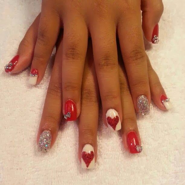 acrylic backfill design 'red-a-kill', meringue glitz feats, sculpted hearts bows swarovski crystals   LED-polish-manicure-OPI-Nail-Polish-Lacquer-Pedicure-care-natural-Gel-Nail-Polish-beauty-Nails-Nail-Art-USA-UK