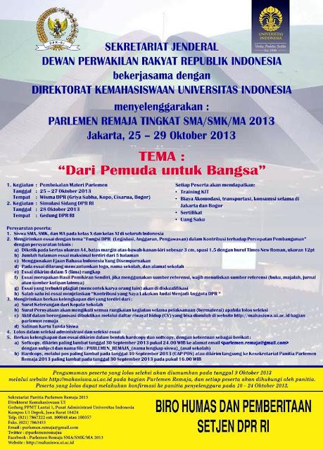 Lomba Essai Parlemen Remaja Tingkat SMA/SMK/MA 2013