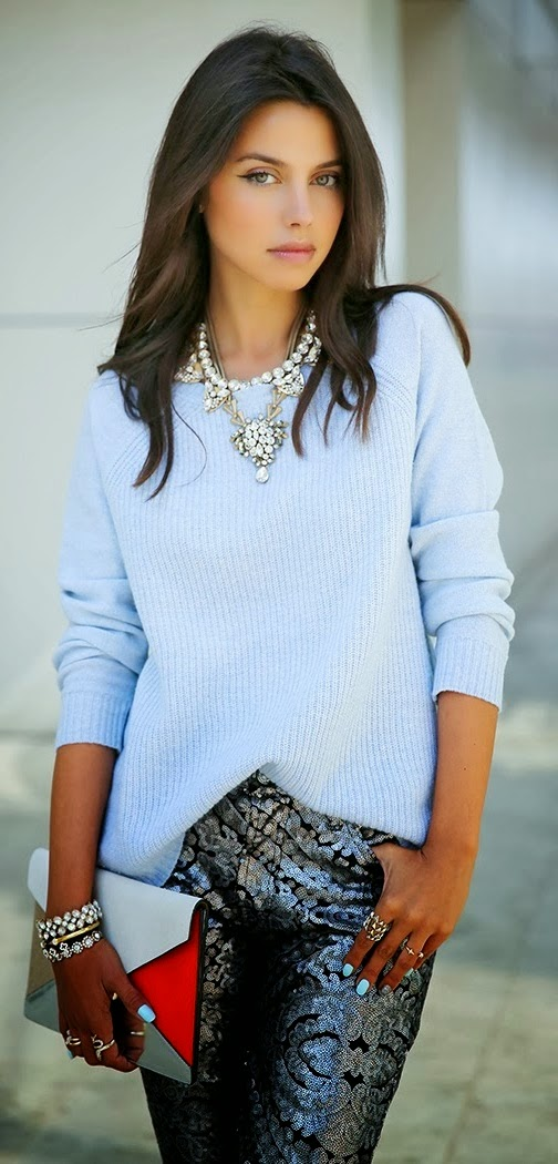 Lovely sequin pant and comfy mint sweater