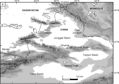 Map showing the location of the Junggar Basin  Han et al   2009   Junggar Basin