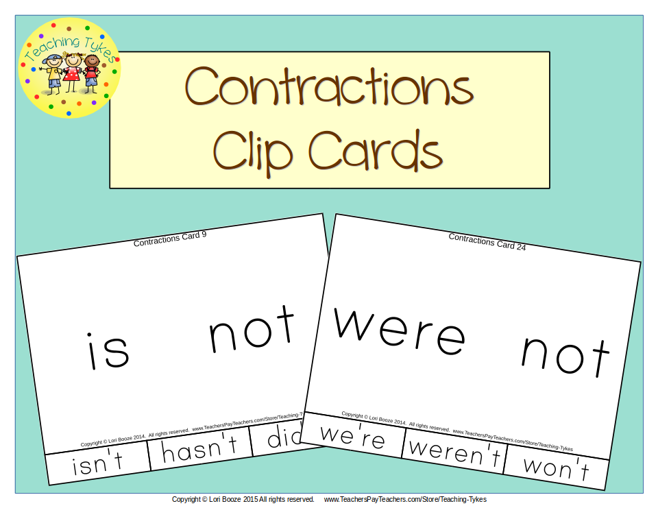 https://www.teacherspayteachers.com/Product/Contractions-Clip-Cards-1836533