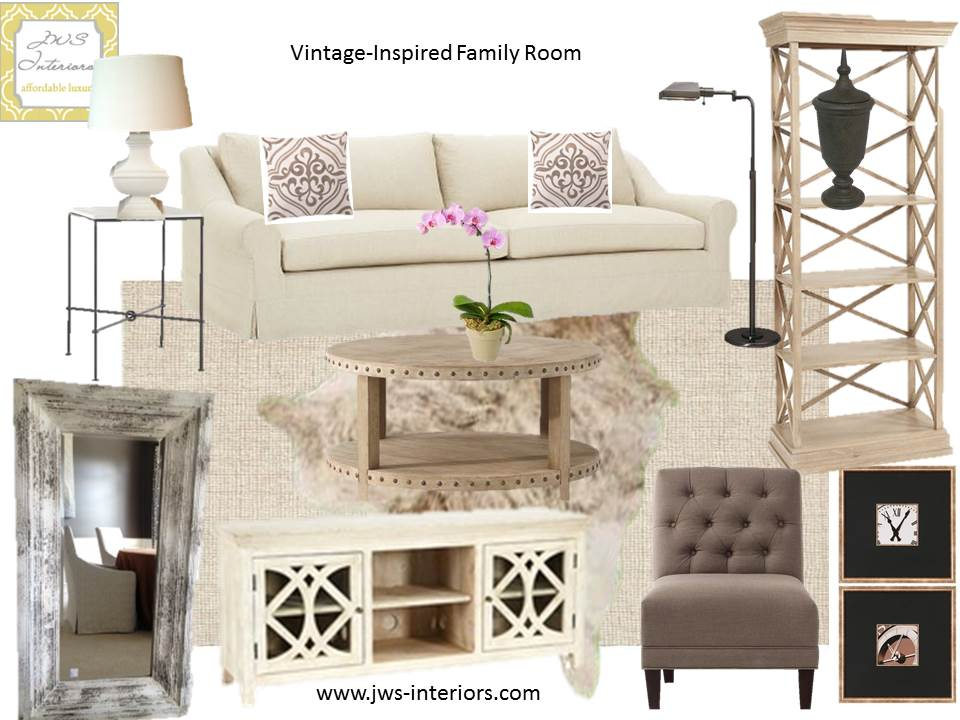 Neutral U0026 Natural Family Room Design Board