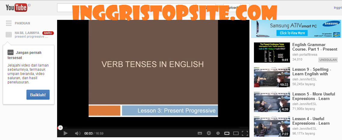 Belajar grammar: Present Progressive/Continuous tense via You Tube