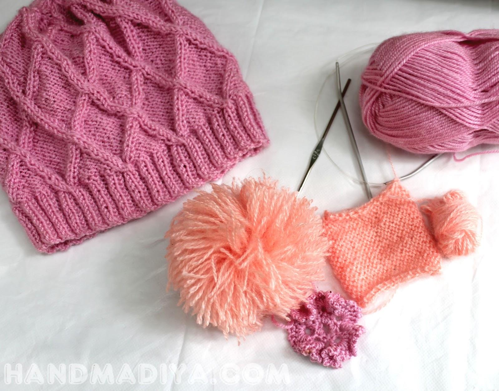 связала шапочку для девочки.  cap for girls, knitting