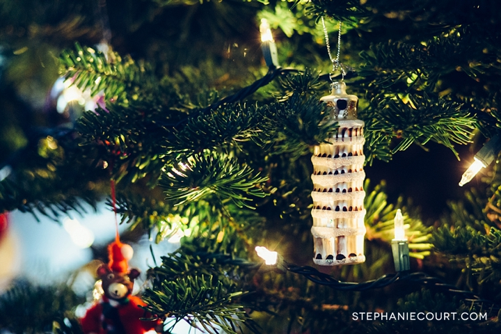leaning tower of pisa christmas ornament