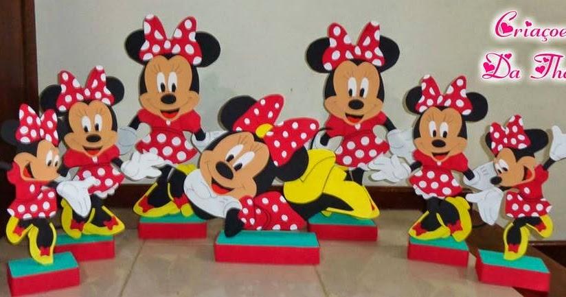 Criações da Thaís Minnie vermelha em eva para decoração de festa