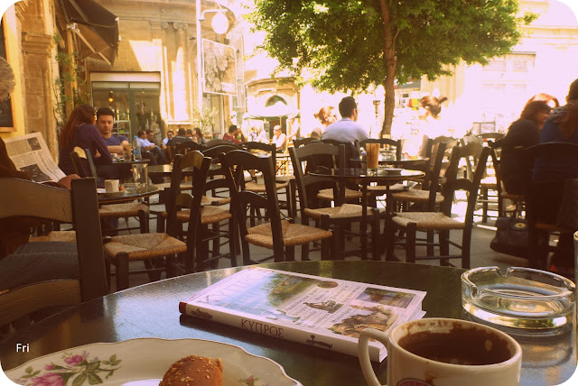 Drinking coffee, Nicosia, Cyprus