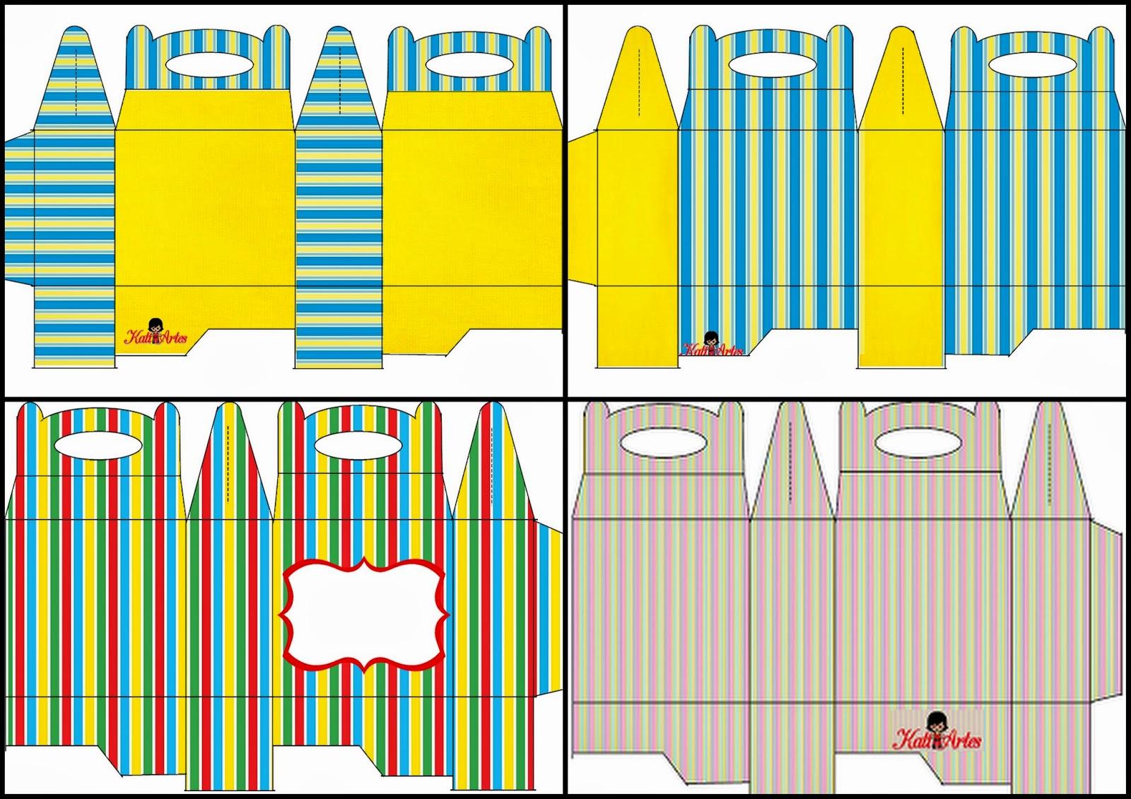 Rayas de Colores: Caja para Lunch, para Imprimir Gratis.   Ideas y ...