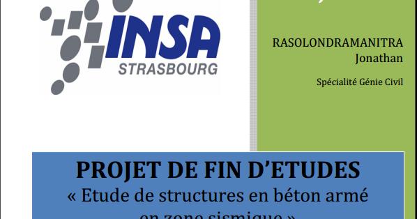 rapport de projet de fin d u0026 39 etude etude de structures en