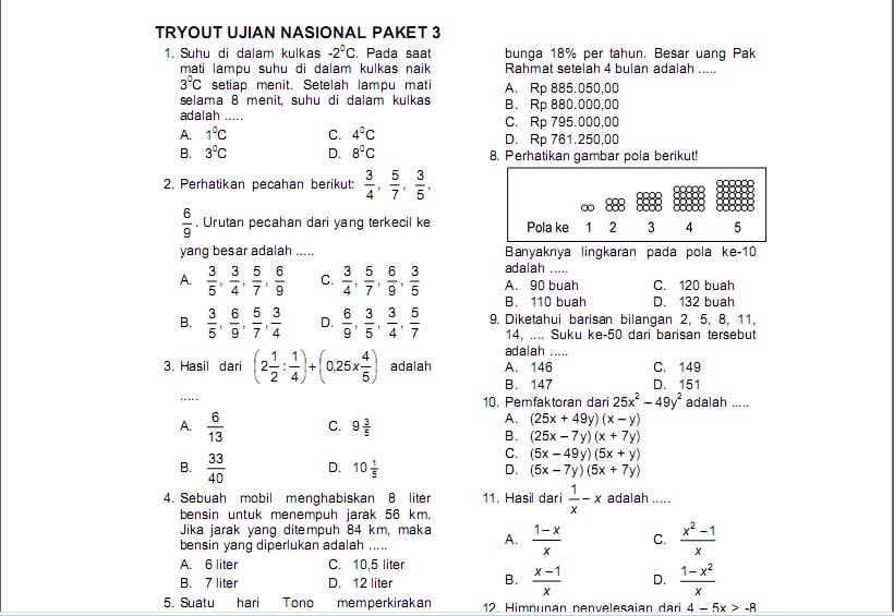 Kumpulan Soal Matematika Un Smp Tryout Ujian Nasional Paket 3
