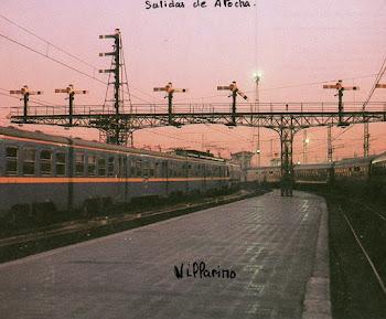 Estación de Atocha vias de salida ,señales brazos articulados por transmisión